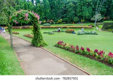 KANDY, SRI LANKA - JULY 18, 2016: People visit beautiful Peradeniya Royal Botanical Gardens near Kandy, Sri Lanka