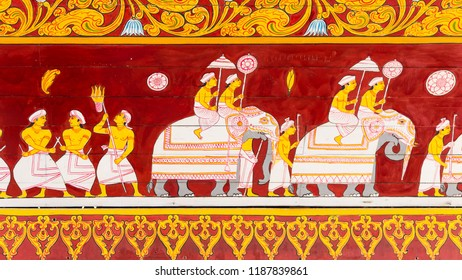 Kandy  Sri Lanka July 28 2017 -  Painting at the entrance of the Temple of the Tooth of buddha in Kandy. Is shows the procession of the elephant during the Kandy festival.