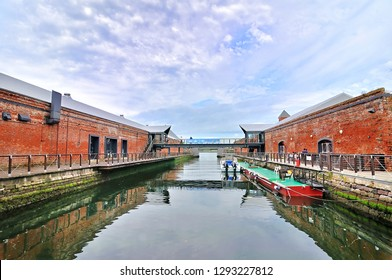 Kanemori Red Brick Warehouse with port in Hakodate, Hokkaido,Japan.