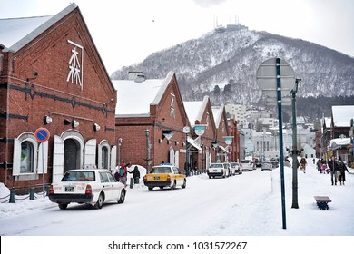 Kanemori Red Brick Warehouse in winter on 12 February 2018 at Hakodate Port in Hokkaido that opened in 1859 as one of the first international trading ports of Japan
