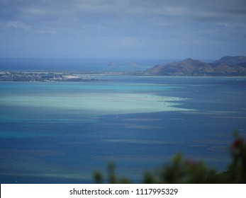 Kaneohe bay sand bar view landscape Hawaii blue ocean with the mokes island in background