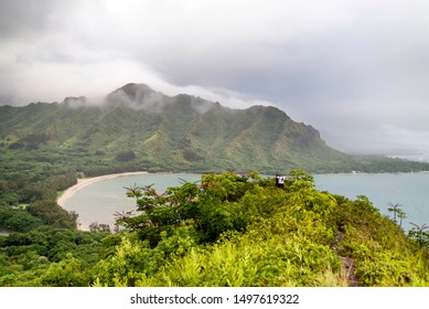 KANEOHE, HAWAII - SEP 1:  Scene at a trail overlooking Kahana Bay in Kaneohe, Hawaii on September 1, 2019.  Oahu has many popular ridge trails.