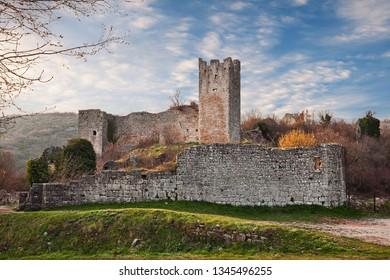 Kanfanar, Istria, Croatia: the ruins of Dvigrad, an abandoned medieval town near Rovinj and Porec