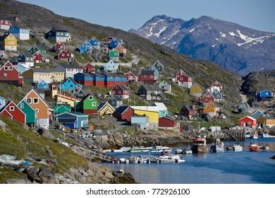 KANGAAMIUT, WEST GREENLAND, JULY 29, 2013. Colorful houses dot the hillsides of the fishing town of Kangaamiut, West Greenland
