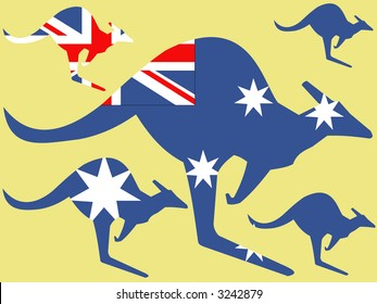 Kangaroo and australian flag illustration adapted from roadsign