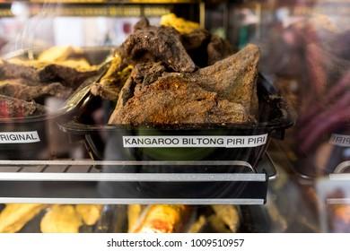 Kangaroo biltong, jerked meat, for sale at counter street shop.