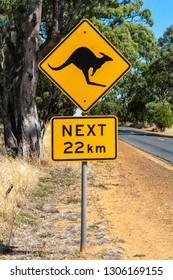 Kangaroo crossing sign in Australia.