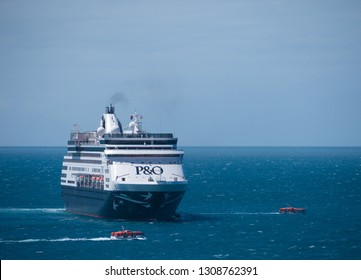 Kangaroo Island, Australia - February 8 2019: Two tenders pass by the Pacific Eden cruise ship in the waters of Penneshaw.