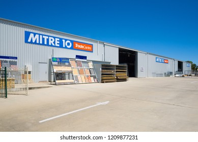 Kangaroo Island, Australia - January 24 2018: Exterior view of a large shed owned by the hardware store Linden Lea Mitre 10 in Kingscote.