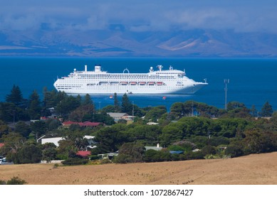 Kangaroo Island, Australia - November 18, 2017: The Pacific Jewel P&O cruise ship anchors in calm waters close to the town of Penneshaw.
