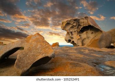 Kangaroo Island's remarkable rocks on the coastline.