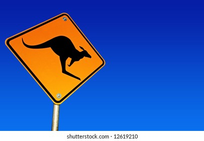 Kangaroo road warning sign, with brilliant blue Australian desert sky behind.  Clipping path included.