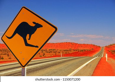 Kangaroo sign in remote outback of Australia