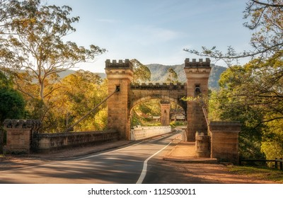Kangaroo Valley, New South Wales, Australia -October 5, 2015: Hampden Bridge is a historic suspension bridge across the Kangaroo River and a heritage Victorian attraction in Southern Highlands.