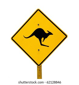 A kangaroo warning sign next to a rural road in Australia.