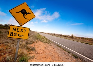 Kangaroo warning sign on a road in the Australian outback.  Western New South Wales.