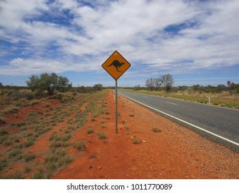 Kangaroos sign on country road in Australian outback