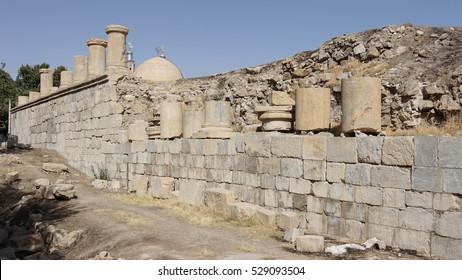 KANGAVAR, IRAN - OCTOBER 3, 2016: Ruins of Anahita Temple, historical site of Kangavar on October 3, 2016 in Iran, Asia