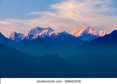 Kangchenjunga sunset view from the Pelling viewpoint in West Sikkim, India