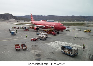 Kangerlussuaq, Greenland - June 30, 2018: An Air Greenland Airbus A330-200 parked at the international airport