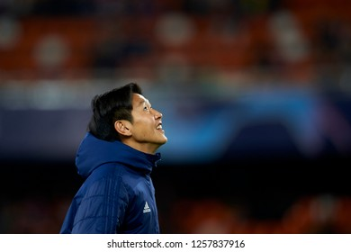Kangin Lee of Valencia during the match between Valencia CF and Manchester United at Mestalla Stadium in Valencia, Spain on December 12, 2018.