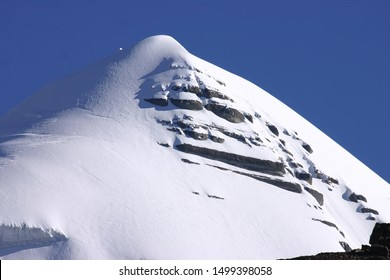 The Kangrinboqe Mountain (kailash Mountain) in the Tibetan Plateau of China is located in the Himalayas and is a sacred mountain of Buddhism and Hindu worship. close-up of the snow-capped mountains.