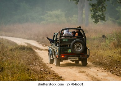 KANHA, INDIA - FEBRUARY 04:  A vehicle with visitors on safari in Kanha National Park on February, 04 in village of Kanha.