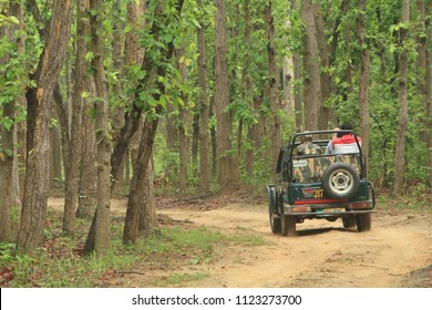 Kanha, Madhya Pradesh/India-June 26, 2017: Tourists on a jeep safari looking for the elusive tiger in the Kanha National Park.