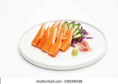 Kani Kamaboko or Crab Sticks, Traditional Japanese food on white background.