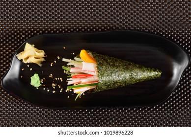 Kani and Mango Temaki Sushi