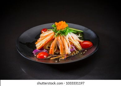 Kani Salad, Japanese food on black background, healthy food, selective focus
