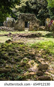 Kaniakapupu Ruins, Oahu, Hawaii. King Kamehameha III's summer home, hidden in the Nu'uanu region.