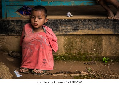 Kanjanaburi Province, Thailand-13 July 16: Disadvantaged Children waiting for food where outback school in mountain wait for help because of hunger on 13 July 16, in Kanjanaburi Province, Thailand