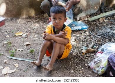 KANJANABURI THAILAND-DEC 13:unidentified Thai childen a backcountry on high area recieved from Donator on December 13,2015 KANJANABURI IN THAILAND