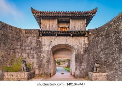 Kankaimon gate of Shuri Castle's in the Shuri neighborhood of Naha, the capital of Okinawa Prefecture, Japan.