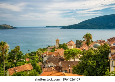 Kanli Kula Fortress. Herceg Novi, one of the sunniest towns on the coast. A beautiful view of Herceg Novi from the fortress walls. Big tourist attraction. An open-air amphitheater. Built in 1539. - Shutterstock ID 1964826409