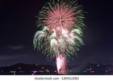 The Kanmon Straits Fireworks Festival in Kitakyushu, Fukuoka Prefecture, Japan