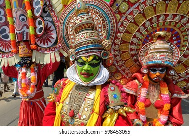 KANNUR - INDIA - FEBRUARY 5, 2017: Unidentified mask dancer at a Theyyam and Kathakali ceremony on February 5, 2017 in Kannur, India. Theyyam and Kathakali are popular ritualistic art forms in Kerala