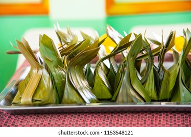 Kanom Sai Sai or Sweet Stuffed Dough Thai Dessert .The process of making and materials  such as banana leaves, coconut leave is hard to find. But the taste of  dessert is so delicious.Placed in an alu