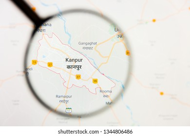 Kanpur, India city visualization illustrative concept on display screen through magnifying glass