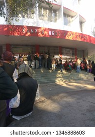 Kanpur, Uttar Pradesh / India - March 22 2019 : People standing in queue for Adhar card Corrections