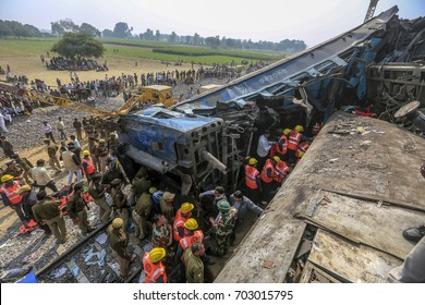 Kanpur Uttar Pradesh India November 20,2016 Rescue and relief works in progress after the Indore-Patna express derailed near Kanpur