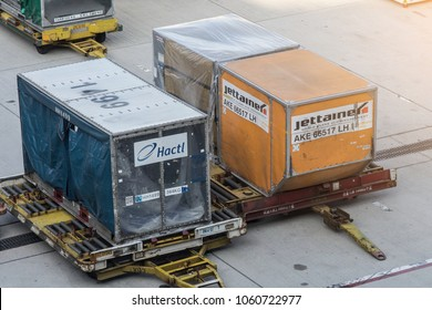 Kansai, Japan Oct 27,2017 : Cargo containers loaded into an airliner for cargo and baggage in Kansai International Airport.