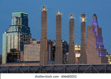 Kansas City at Dusk with the 4 Pillars