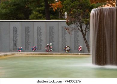 Kansas City, Missouri 11-4-2017 Kansas City Vietnam Veterans Memorial and Fountain was dedicated in 1986 to all Vietnam veterans. It includes a memorial wall of 336 KC-area Vietnam veterans killed.