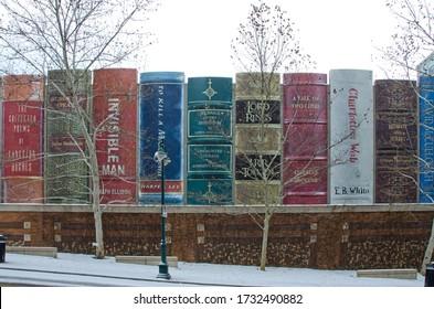 Kansas City, Missouri - December 23, 2017:  The Kansas City Public Library parking garage is camouflaged as a bookshelf.