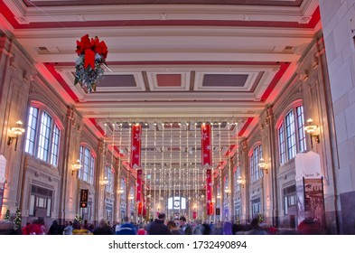 Kansas City, Missouri - December 23, 2017:  Union Station in Kansas City, Missouri is decked out for the holidays with a giant Christmas tree, wreaths and lots of lights.