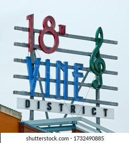 Kansas City, Missouri - December 26, 2017:  18th and Vine in Kansas City, Missouri is known as the Jazz District.  Legendary musicians like Charlie Bird Parker were nurtured in this neighborhood.