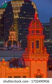 Kansas City, Missouri - December 26, 2017: Christmas on the Country Club Plaza in Kansas City, Missouri involves six blocks of an outdoor shopping district dressed up in Christmas lights.
