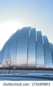 Kansas City, Missouri - December 27, 2017:  The Kauffman Center for the Performing Arts in Kansas City, Missouri is a renown performance complex with stunning architectural details designed by Moshe S